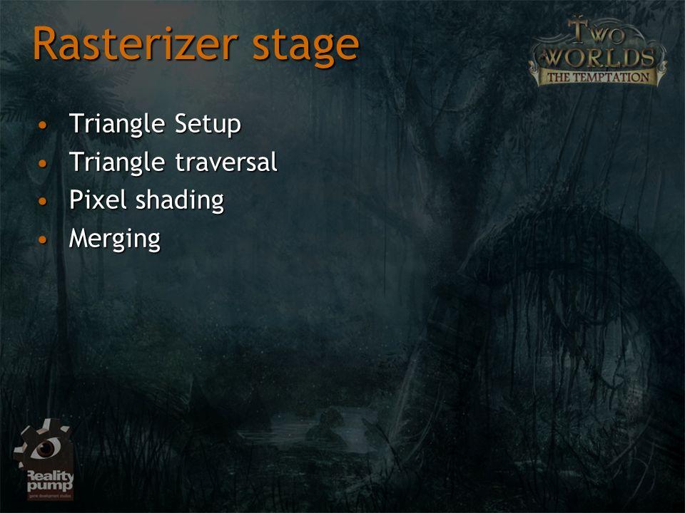 Rasterizer stage Triangle SetupTriangle Setup Triangle traversalTriangle traversal Pixel shadingPixel shading MergingMerging