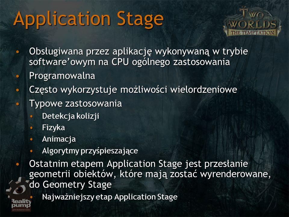 Application Stage Obsługiwana przez aplikację wykonywaną w trybie softwareowym na CPU ogólnego zastosowaniaObsługiwana przez aplikację wykonywaną w tr