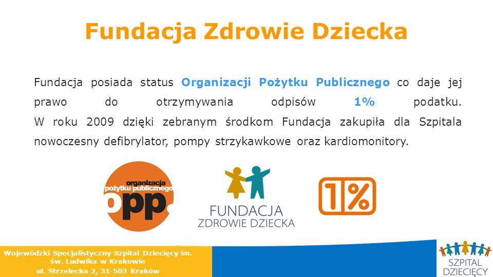 Fundacja Zdrowie Dziecka Fundacja posiada status Organizacji Pożytku Publicznego co daje jej prawo do otrzymywania odpisów 1% podatku. W roku 2009 dzi