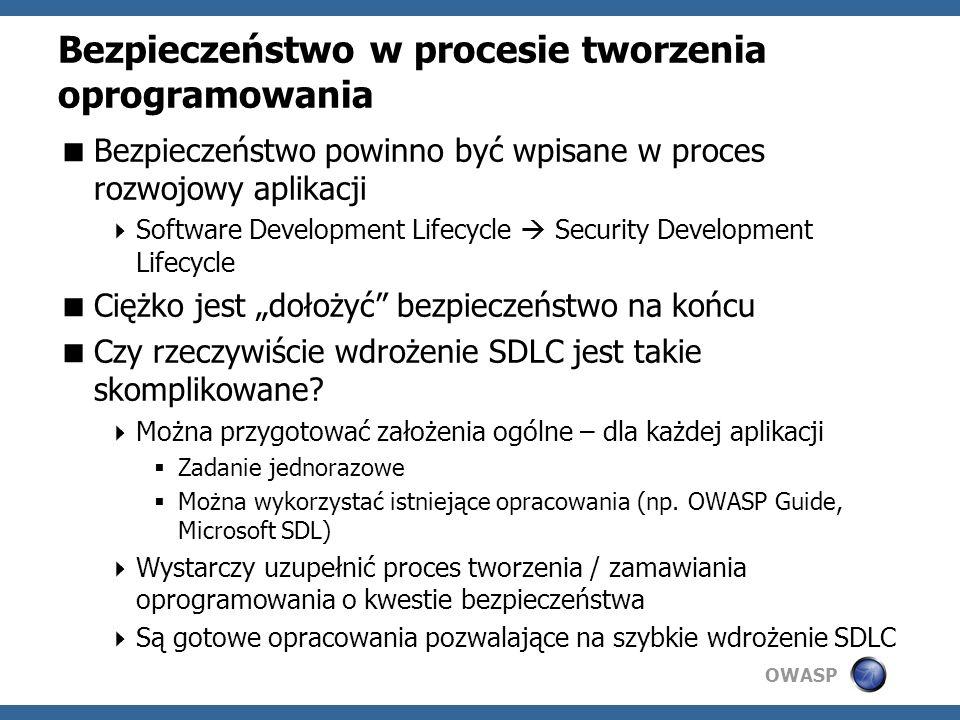 OWASP Bezpieczeństwo w procesie tworzenia oprogramowania Bezpieczeństwo powinno być wpisane w proces rozwojowy aplikacji Software Development Lifecycle Security Development Lifecycle Ciężko jest dołożyć bezpieczeństwo na końcu Czy rzeczywiście wdrożenie SDLC jest takie skomplikowane.
