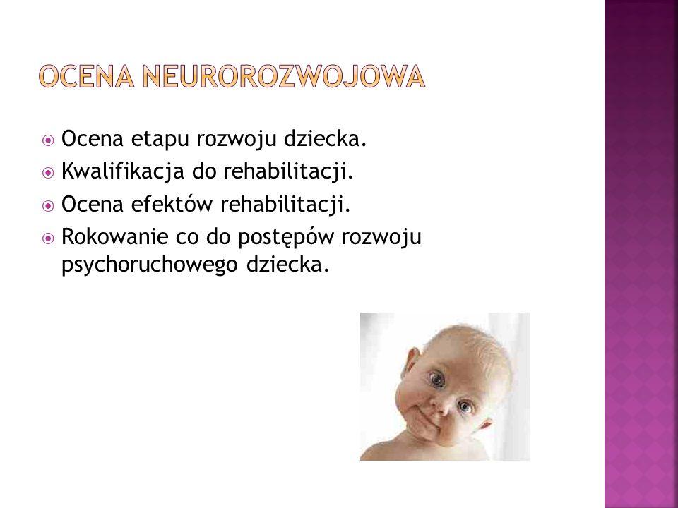 Ocena etapu rozwoju dziecka. Kwalifikacja do rehabilitacji. Ocena efektów rehabilitacji. Rokowanie co do postępów rozwoju psychoruchowego dziecka.