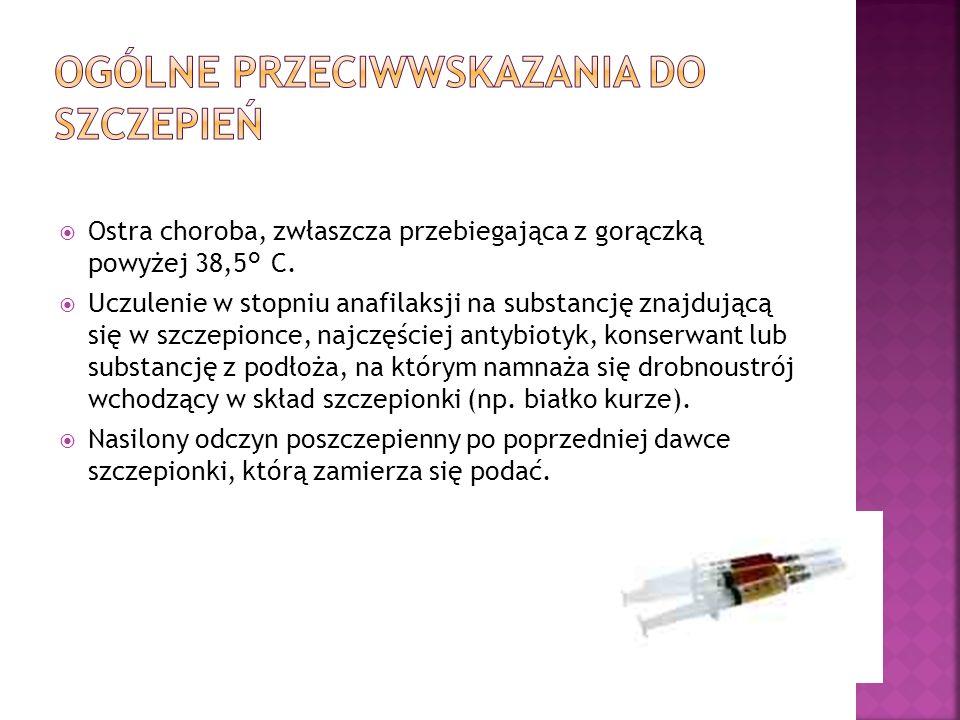 Ostra choroba, zwłaszcza przebiegająca z gorączką powyżej 38,5 ° C. Uczulenie w stopniu anafilaksji na substancję znajdującą się w szczepionce, najczę