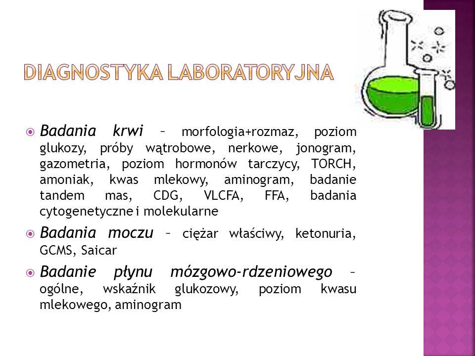 Badania krwi – morfologia+rozmaz, poziom glukozy, próby wątrobowe, nerkowe, jonogram, gazometria, poziom hormonów tarczycy, TORCH, amoniak, kwas mleko