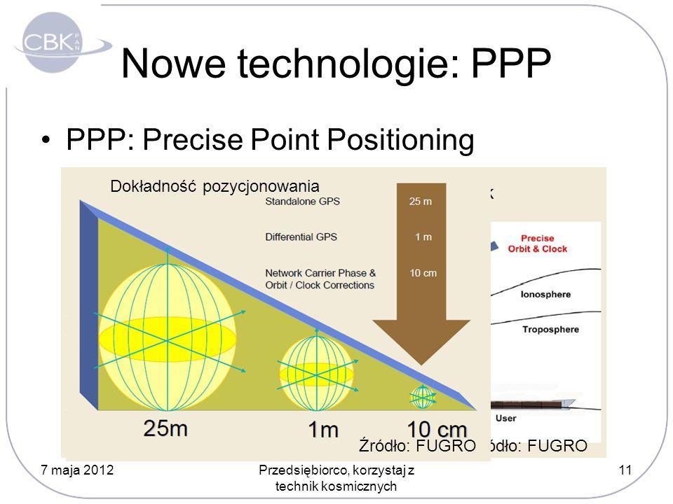 Nowe technologie: PPP PPP: Precise Point Positioning 7 maja 2012Przedsiębiorco, korzystaj z technik kosmicznych 11 Źródło: FUGRO Dokładność pozycjonowania