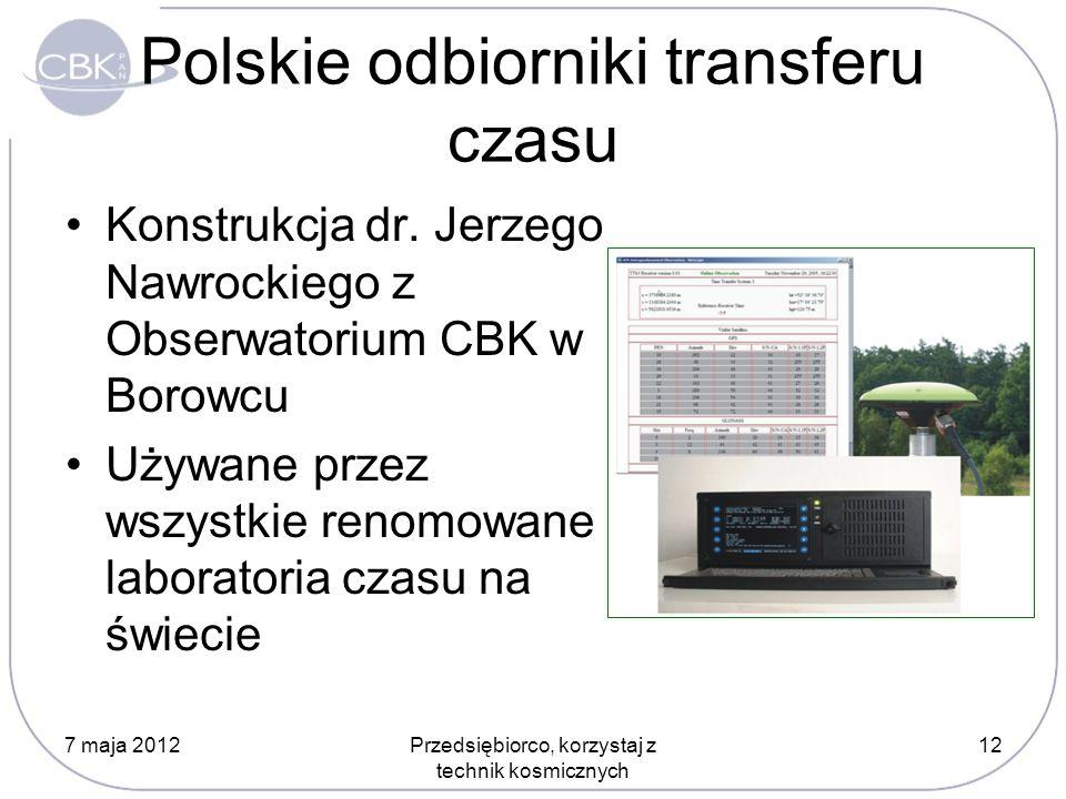 Polskie odbiorniki transferu czasu Konstrukcja dr. Jerzego Nawrockiego z Obserwatorium CBK w Borowcu Używane przez wszystkie renomowane laboratoria cz