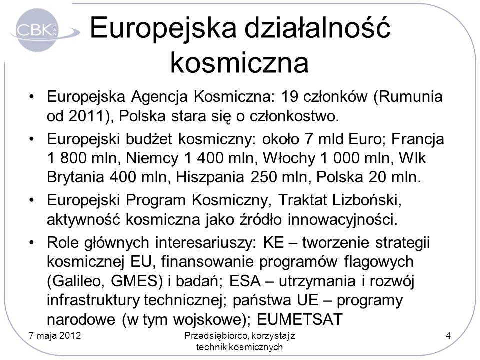 Europejska działalność kosmiczna Europejska Agencja Kosmiczna: 19 członków (Rumunia od 2011), Polska stara się o członkostwo. Europejski budżet kosmic