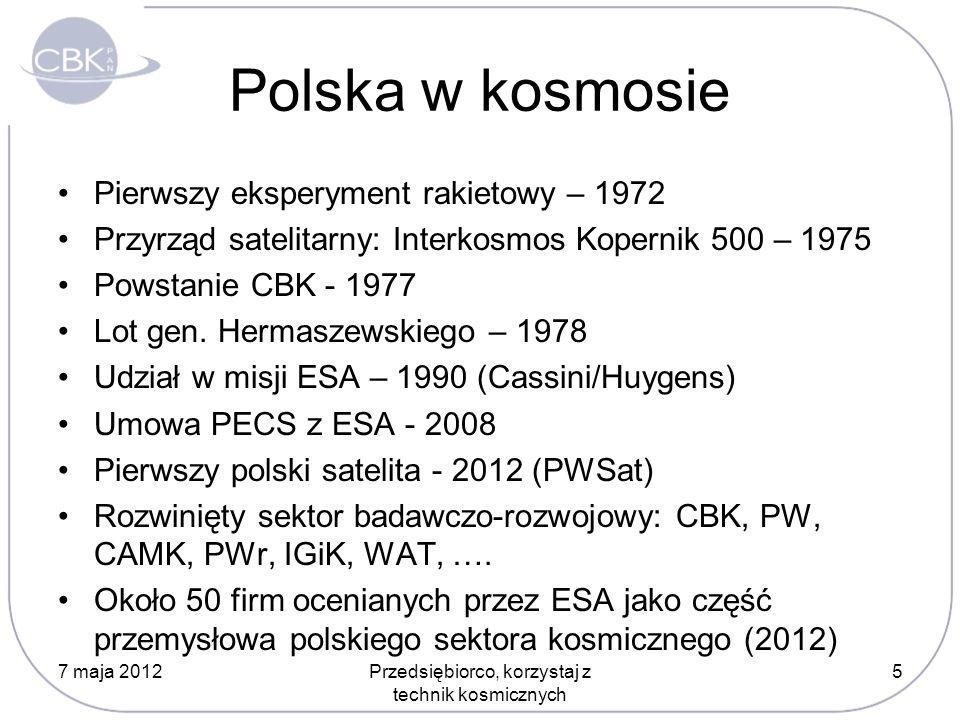 Polska w kosmosie Pierwszy eksperyment rakietowy – 1972 Przyrząd satelitarny: Interkosmos Kopernik 500 – 1975 Powstanie CBK - 1977 Lot gen. Hermaszews