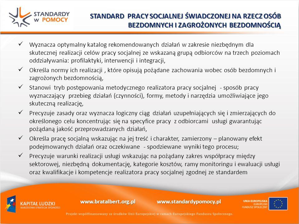 Wyznacza optymalny katalog rekomendowanych działań w zakresie niezbędnym dla skutecznej realizacji celów pracy socjalnej ze wskazaną grupą odbiorców n