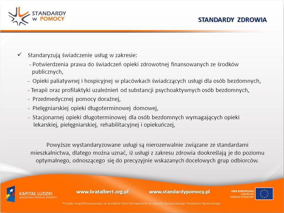 Standaryzują świadczenie usług w zakresie: - Potwierdzenia prawa do świadczeń opieki zdrowotnej finansowanych ze środków publicznych, - Opieki paliaty