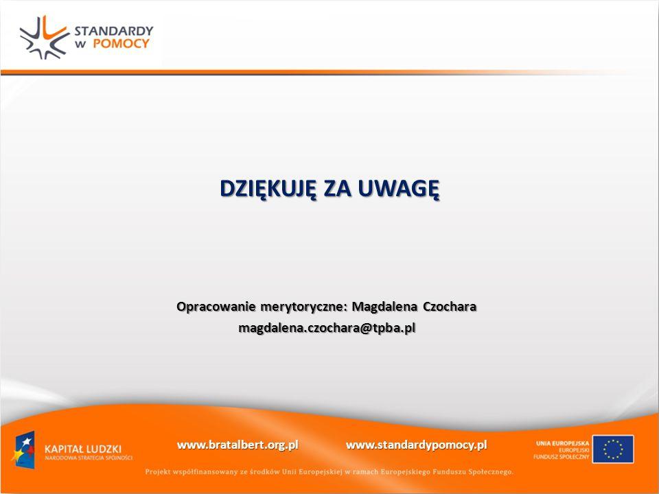 DZIĘKUJĘ ZA UWAGĘ Opracowanie merytoryczne: Magdalena Czochara magdalena.czochara@tpba.pl www.bratalbert.org.pl www.standardypomocy.pl