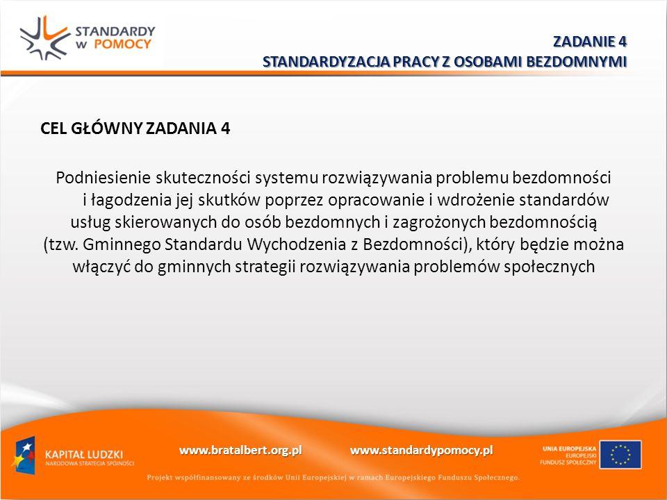 CEL GŁÓWNY ZADANIA 4 Podniesienie skuteczności systemu rozwiązywania problemu bezdomności i łagodzenia jej skutków poprzez opracowanie i wdrożenie sta