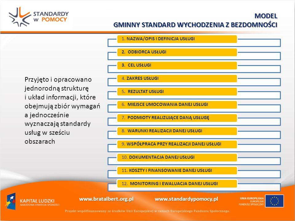 Przyjęto i opracowano jednorodną strukturę i układ informacji, które obejmują zbiór wymagań a jednocześnie wyznaczają standardy usług w sześciu obszarach 1.