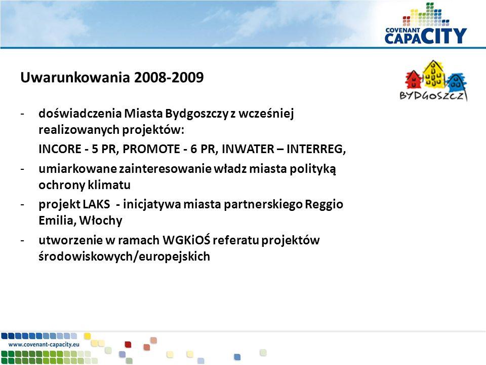 -doświadczenia Miasta Bydgoszczy z wcześniej realizowanych projektów: INCORE - 5 PR, PROMOTE - 6 PR, INWATER – INTERREG, -umiarkowane zainteresowanie