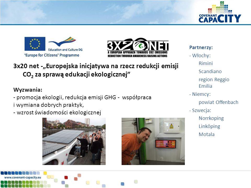 3x20 net -Europejska inicjatywa na rzecz redukcji emisji CO 2 za sprawą edukacji ekologicznej Wyzwania: - promocja ekologii, redukcja emisji GHG - wsp
