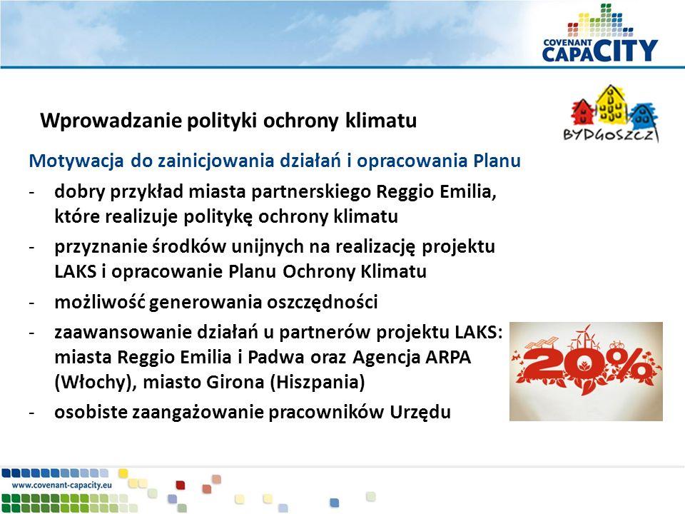 Motywacja do zainicjowania działań i opracowania Planu -dobry przykład miasta partnerskiego Reggio Emilia, które realizuje politykę ochrony klimatu -p