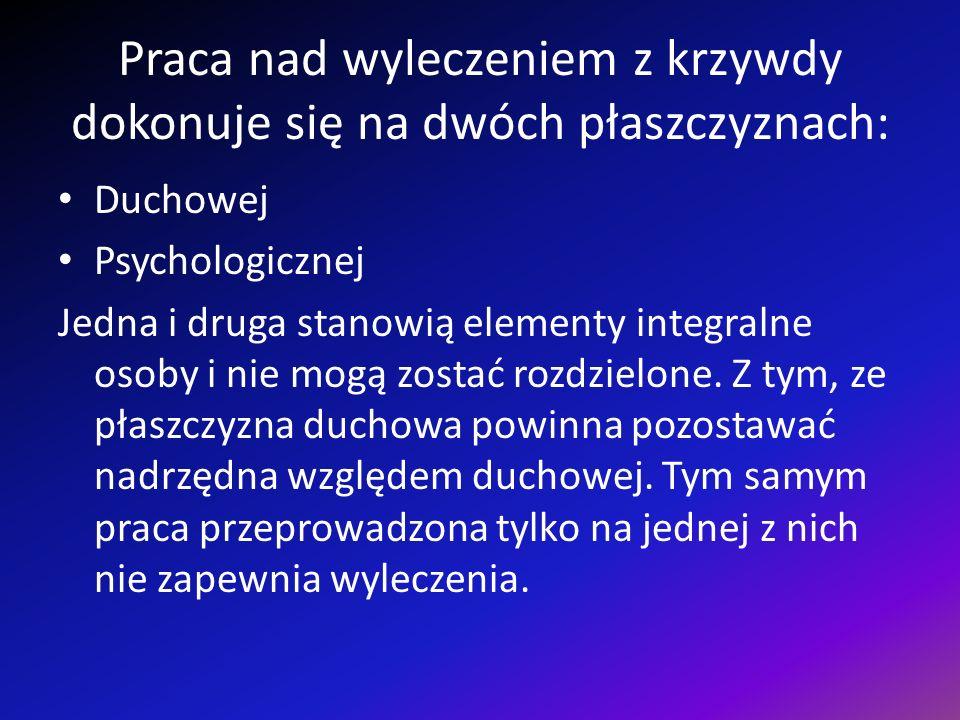 Praca nad wyleczeniem z krzywdy dokonuje się na dwóch płaszczyznach: Duchowej Psychologicznej Jedna i druga stanowią elementy integralne osoby i nie mogą zostać rozdzielone.
