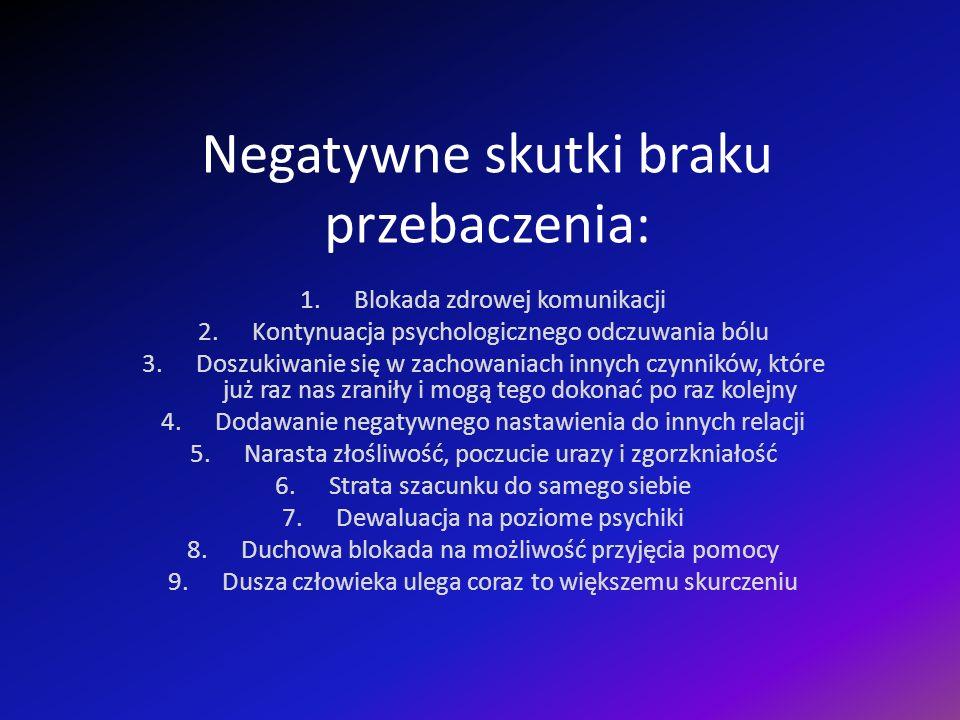 Negatywne skutki braku przebaczenia: 1.Blokada zdrowej komunikacji 2.Kontynuacja psychologicznego odczuwania bólu 3.Doszukiwanie się w zachowaniach innych czynników, które już raz nas zraniły i mogą tego dokonać po raz kolejny 4.Dodawanie negatywnego nastawienia do innych relacji 5.Narasta złośliwość, poczucie urazy i zgorzkniałość 6.Strata szacunku do samego siebie 7.Dewaluacja na poziome psychiki 8.Duchowa blokada na możliwość przyjęcia pomocy 9.Dusza człowieka ulega coraz to większemu skurczeniu