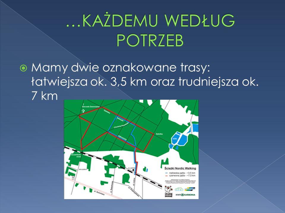 Mamy dwie oznakowane trasy: łatwiejsza ok. 3,5 km oraz trudniejsza ok. 7 km