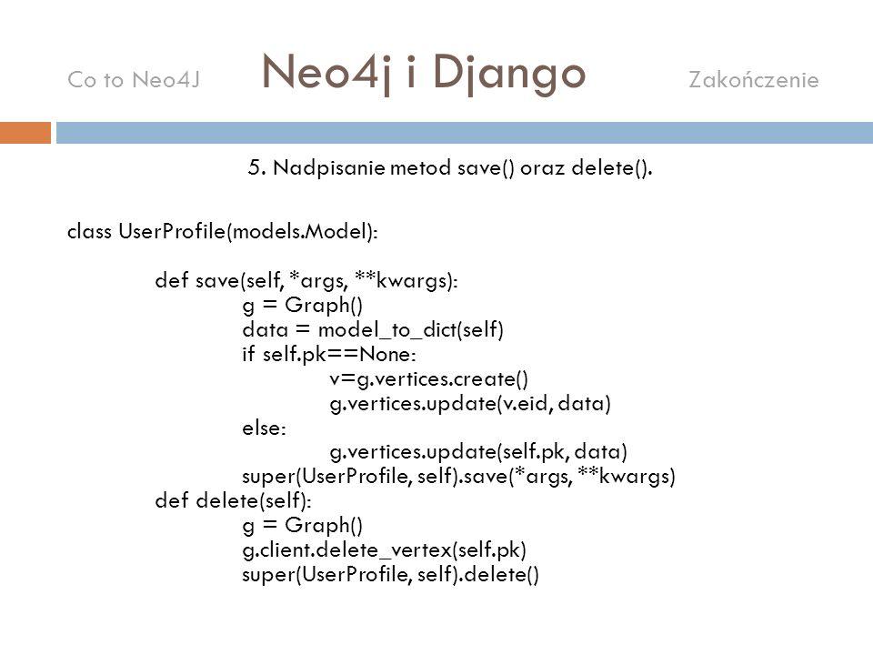 5. Nadpisanie metod save() oraz delete(). class UserProfile(models.Model): def save(self, *args, **kwargs): g = Graph() data = model_to_dict(self) if