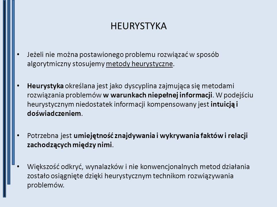 HEURYSTYKA Jeżeli nie można postawionego problemu rozwiązać w sposób algorytmiczny stosujemy metody heurystyczne. Heurystyka określana jest jako dyscy