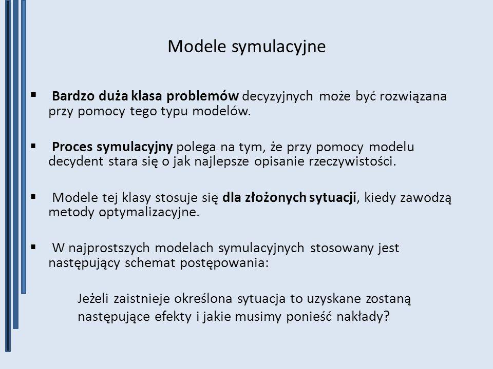 Modele symulacyjne Bardzo duża klasa problemów decyzyjnych może być rozwiązana przy pomocy tego typu modelów. Proces symulacyjny polega na tym, że prz