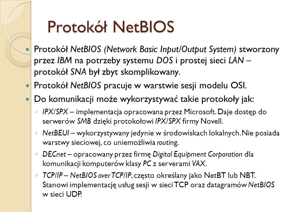 Protokół NetBIOS Protokół NetBIOS (Network Basic Input/Output System) stworzony przez IBM na potrzeby systemu DOS i prostej sieci LAN – protokół SNA b