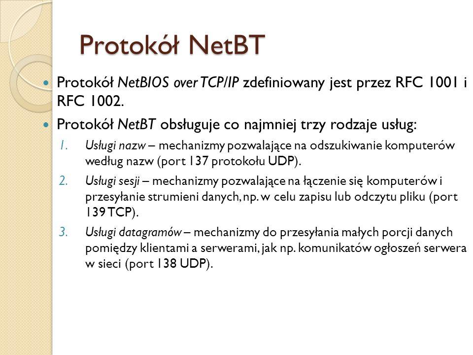 Protokół NetBT Protokół NetBIOS over TCP/IP zdefiniowany jest przez RFC 1001 i RFC 1002. Protokół NetBT obsługuje co najmniej trzy rodzaje usług: 1.Us