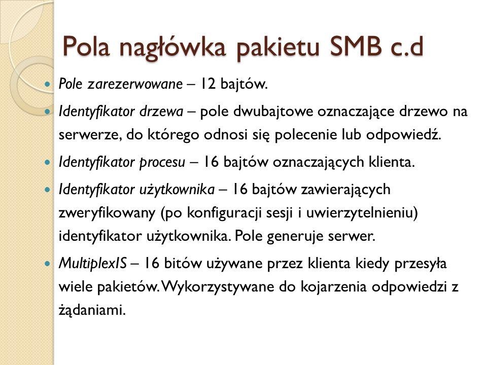 Pola nagłówka pakietu SMB c.d Pole zarezerwowane – 12 bajtów. Identyfikator drzewa – pole dwubajtowe oznaczające drzewo na serwerze, do którego odnosi