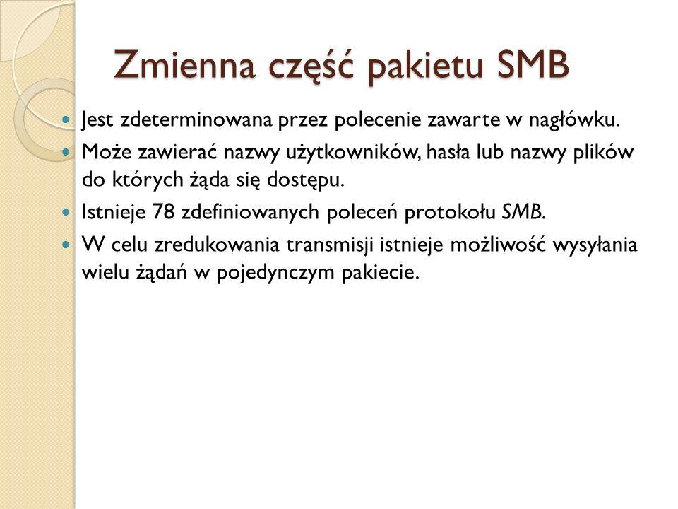 Zmienna część pakietu SMB Jest zdeterminowana przez polecenie zawarte w nagłówku. Może zawierać nazwy użytkowników, hasła lub nazwy plików do których