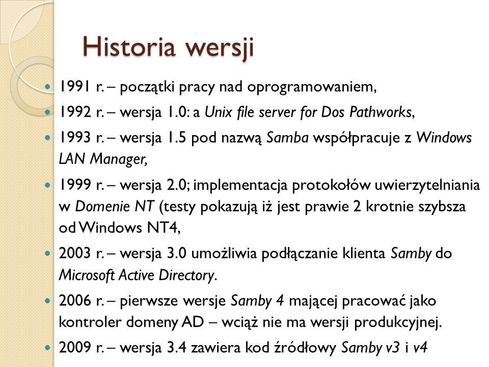 Historia wersji 1991 r. – początki pracy nad oprogramowaniem, 1992 r. – wersja 1.0: a Unix file server for Dos Pathworks, 1993 r. – wersja 1.5 pod naz