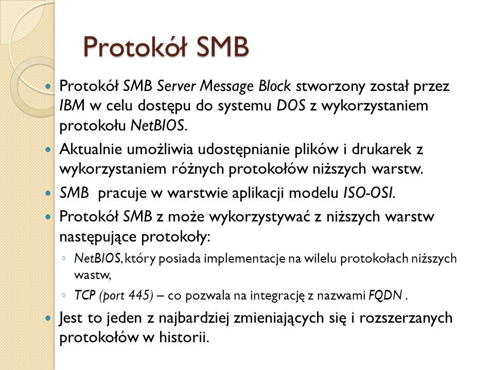 Protokół SMB Protokół SMB Server Message Block stworzony został przez IBM w celu dostępu do systemu DOS z wykorzystaniem protokołu NetBIOS. Aktualnie
