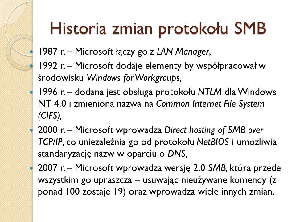 Historia zmian protokołu SMB 1987 r. – Microsoft łączy go z LAN Manager, 1992 r. – Microsoft dodaje elementy by współpracował w środowisku Windows for