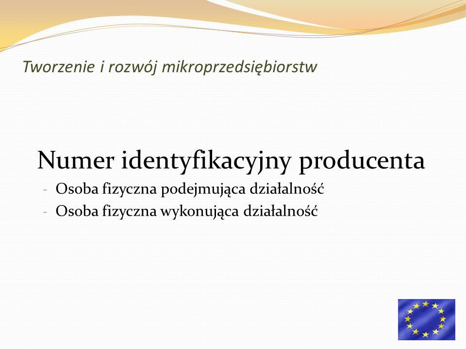 Numer identyfikacyjny producenta - Osoba fizyczna podejmująca działalność - Osoba fizyczna wykonująca działalność Tworzenie i rozwój mikroprzedsiębior