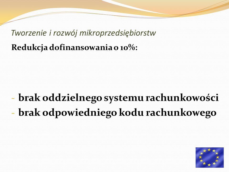 Redukcja dofinansowania o 10%: - brak oddzielnego systemu rachunkowości - brak odpowiedniego kodu rachunkowego Tworzenie i rozwój mikroprzedsiębiorstw