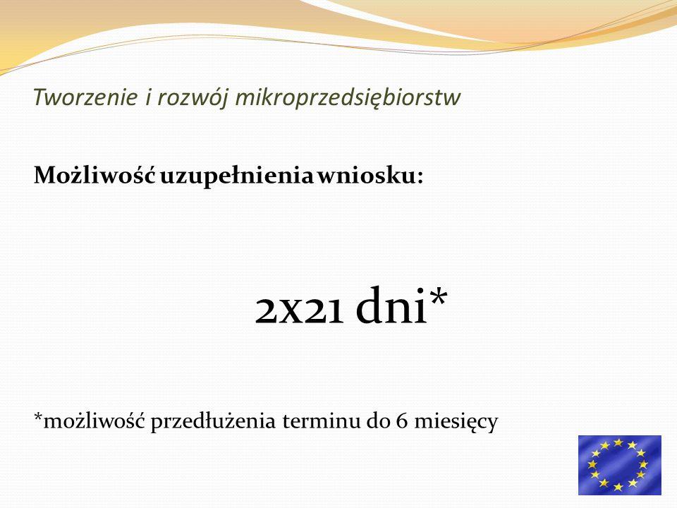 Możliwość uzupełnienia wniosku: 2x21 dni* *możliwość przedłużenia terminu do 6 miesięcy Tworzenie i rozwój mikroprzedsiębiorstw