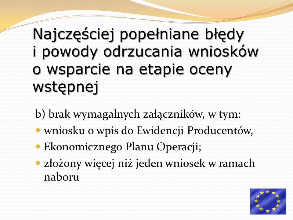 b) brak wymagalnych załączników, w tym: wniosku o wpis do Ewidencji Producentów, Ekonomicznego Planu Operacji; złożony więcej niż jeden wniosek w rama