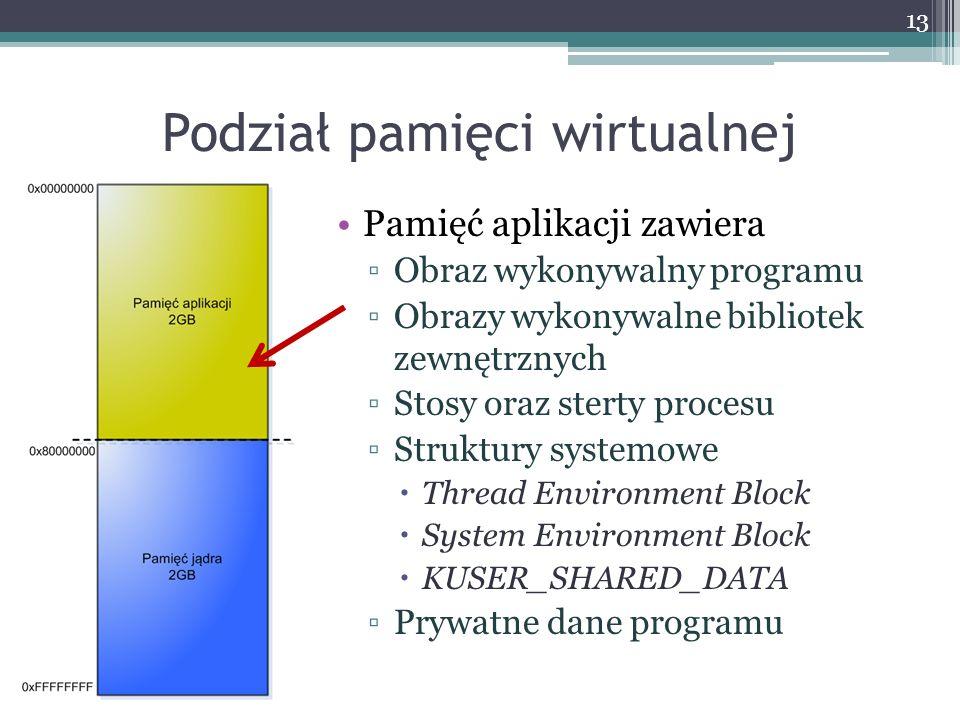 Podział pamięci wirtualnej Pamięć aplikacji zawiera Obraz wykonywalny programu Obrazy wykonywalne bibliotek zewnętrznych Stosy oraz sterty procesu Struktury systemowe Thread Environment Block System Environment Block KUSER_SHARED_DATA Prywatne dane programu 13