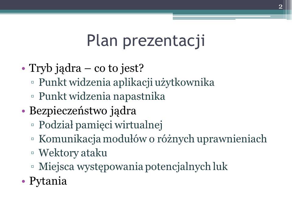 Plan prezentacji Tryb jądra – co to jest.