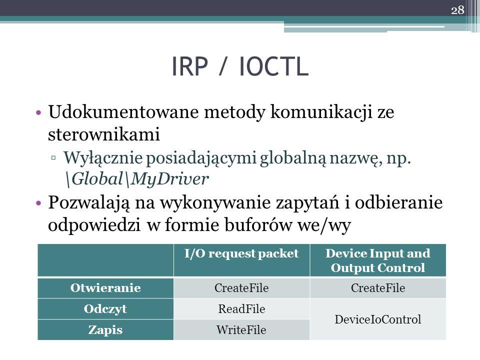 IRP / IOCTL Udokumentowane metody komunikacji ze sterownikami Wyłącznie posiadającymi globalną nazwę, np.