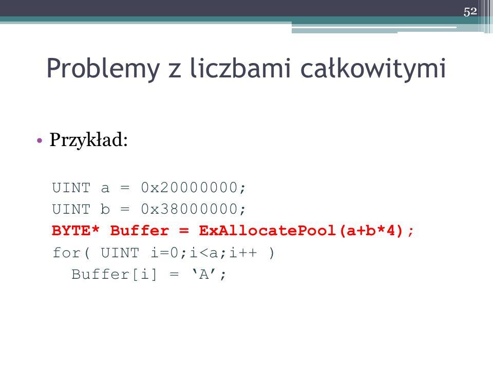 Problemy z liczbami całkowitymi Przykład: UINT a = 0x20000000; UINT b = 0x38000000; BYTE* Buffer = ExAllocatePool(a+b*4); for( UINT i=0;i<a;i++ ) Buffer[i] = A; 52
