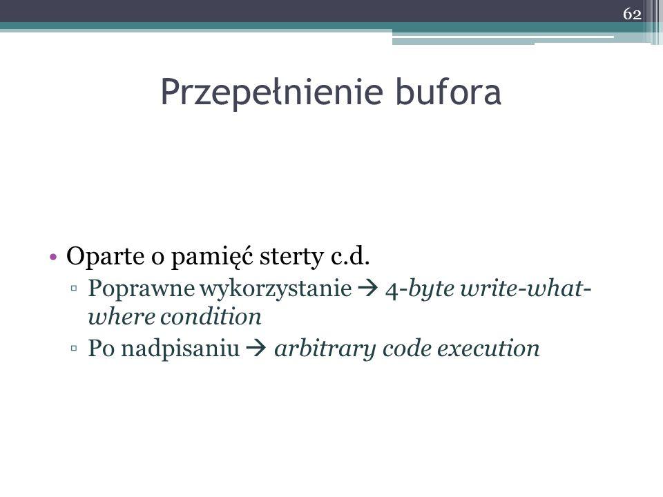 Przepełnienie bufora Oparte o pamięć sterty c.d.