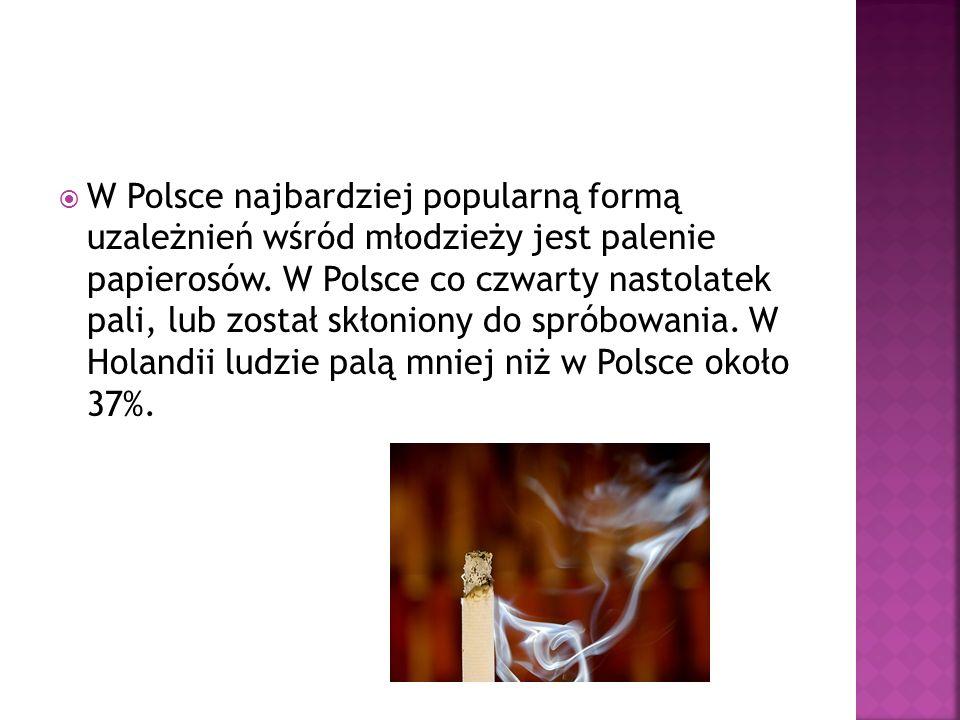 W Polsce najbardziej popularną formą uzależnień wśród młodzieży jest palenie papierosów.