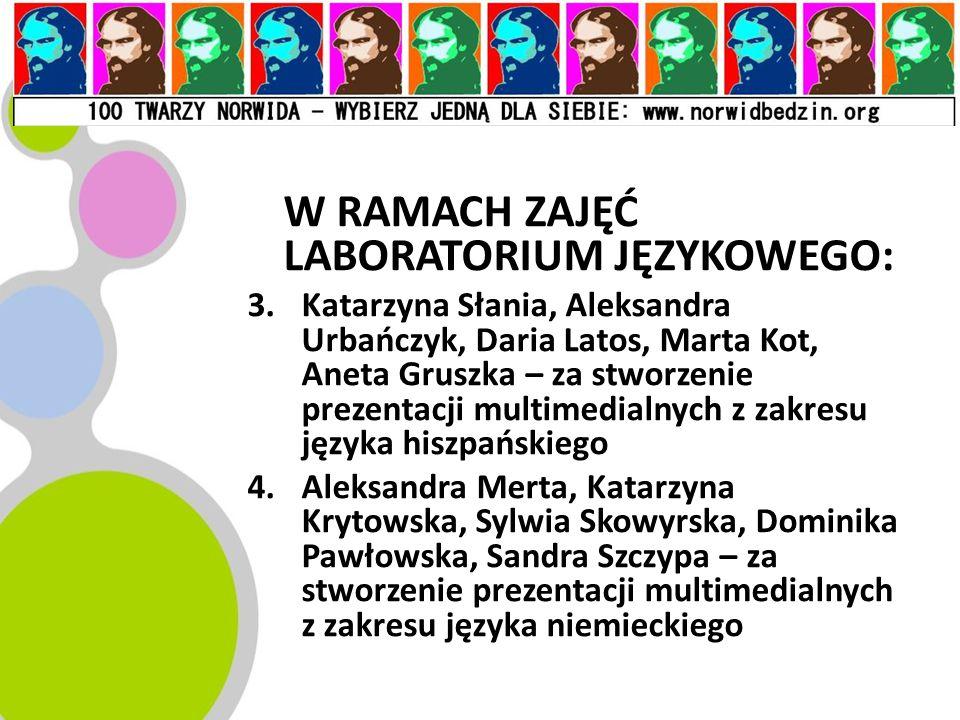W RAMACH ZAJĘĆ LABORATORIUM JĘZYKOWEGO: 3.Katarzyna Słania, Aleksandra Urbańczyk, Daria Latos, Marta Kot, Aneta Gruszka – za stworzenie prezentacji mu