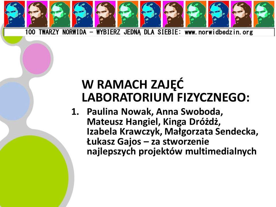 W RAMACH ZAJĘĆ LABORATORIUM FIZYCZNEGO: 1.Paulina Nowak, Anna Swoboda, Mateusz Hangiel, Kinga Dróżdż, Izabela Krawczyk, Małgorzata Sendecka, Łukasz Ga