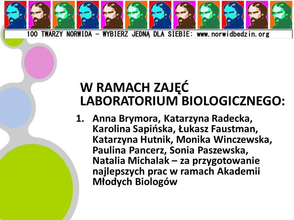 W RAMACH ZAJĘĆ LABORATORIUM BIOLOGICZNEGO: 1.Anna Brymora, Katarzyna Radecka, Karolina Sapińska, Łukasz Faustman, Katarzyna Hutnik, Monika Winczewska,