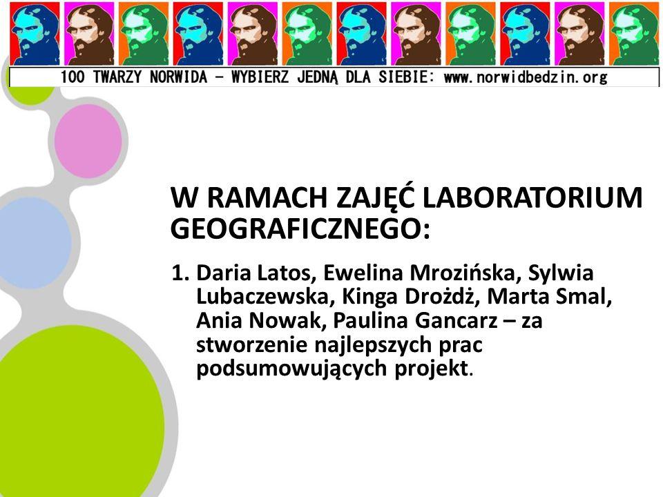 W RAMACH ZAJĘĆ LABORATORIUM GEOGRAFICZNEGO: 1.Daria Latos, Ewelina Mrozińska, Sylwia Lubaczewska, Kinga Drożdż, Marta Smal, Ania Nowak, Paulina Gancar