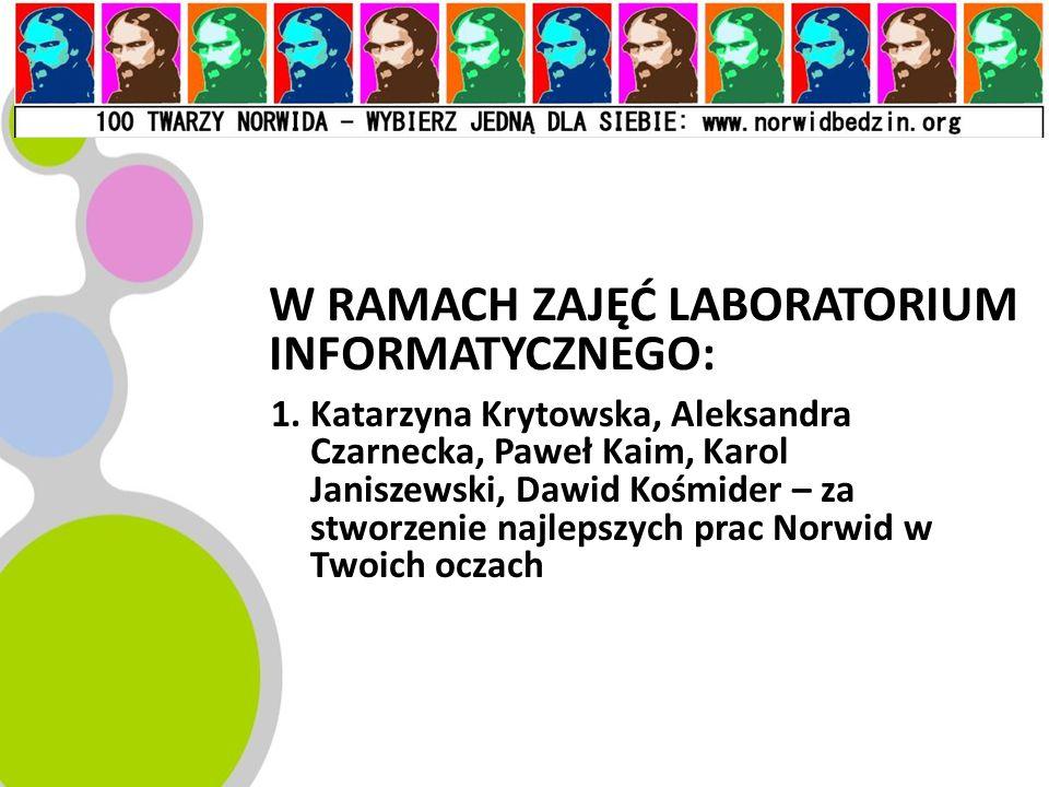 W RAMACH ZAJĘĆ LABORATORIUM INFORMATYCZNEGO: 1.Katarzyna Krytowska, Aleksandra Czarnecka, Paweł Kaim, Karol Janiszewski, Dawid Kośmider – za stworzeni