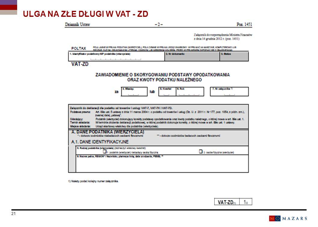 Date 21 Titre de la présentation ULGA NA ZŁE DŁUGI W VAT - ZD