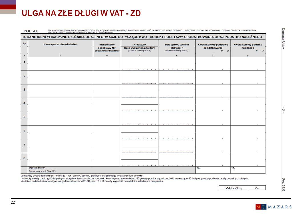Date 22 Titre de la présentation ULGA NA ZŁE DŁUGI W VAT - ZD