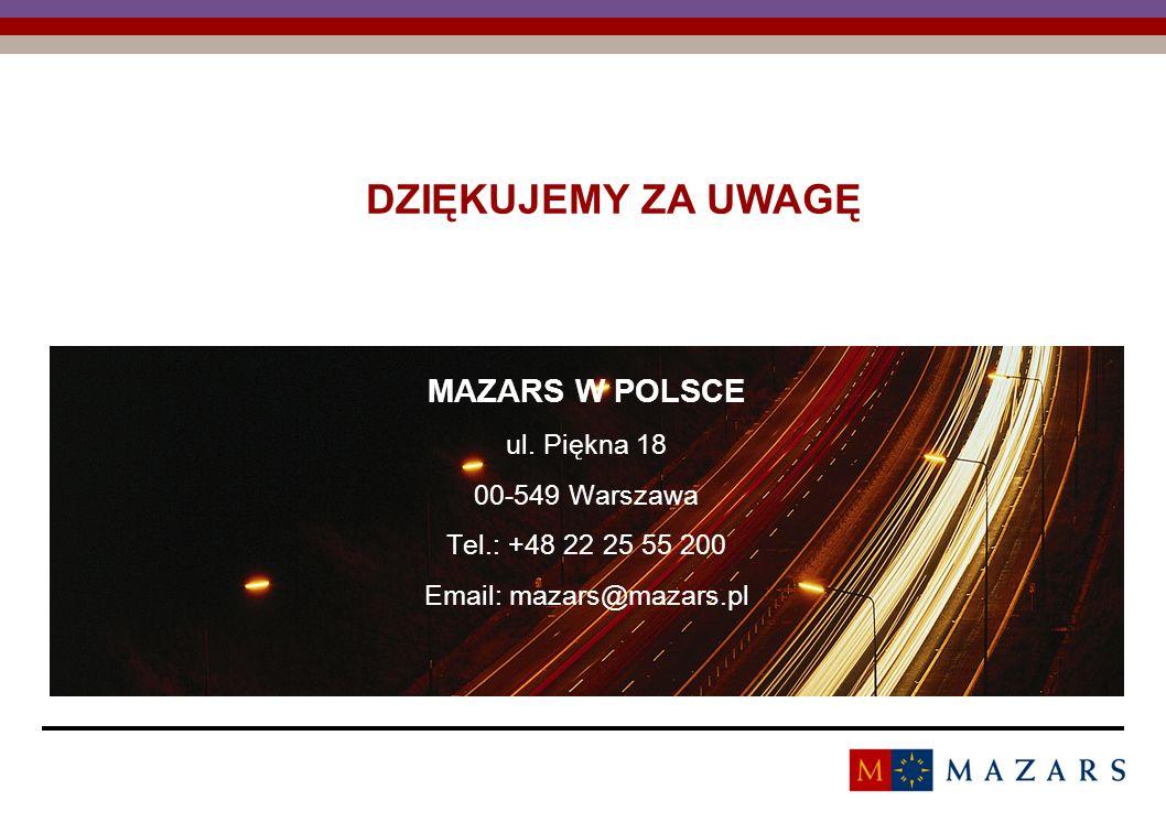 Titre de la présentation 24 DZIĘKUJEMY ZA UWAGĘ MAZARS W POLSCE ul. Piękna 18 00-549 Warszawa Tel.: +48 22 25 55 200 Email: mazars@mazars.pl